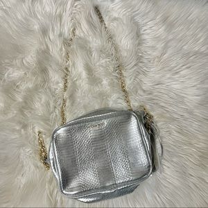 Victoria secret crossbody faux silver snake bag with gold chain